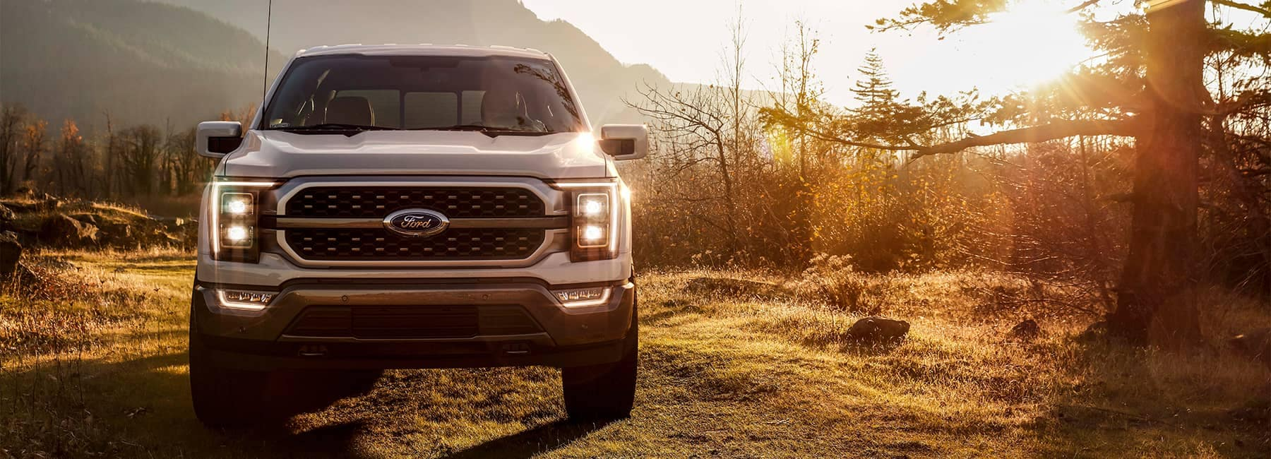A silver 2021 Ford F150 parked in on a wooded trail at sunset
