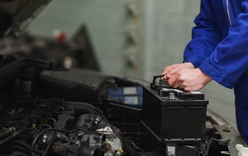 car battery being replaced