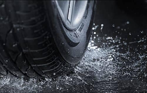 Tire on a puddle