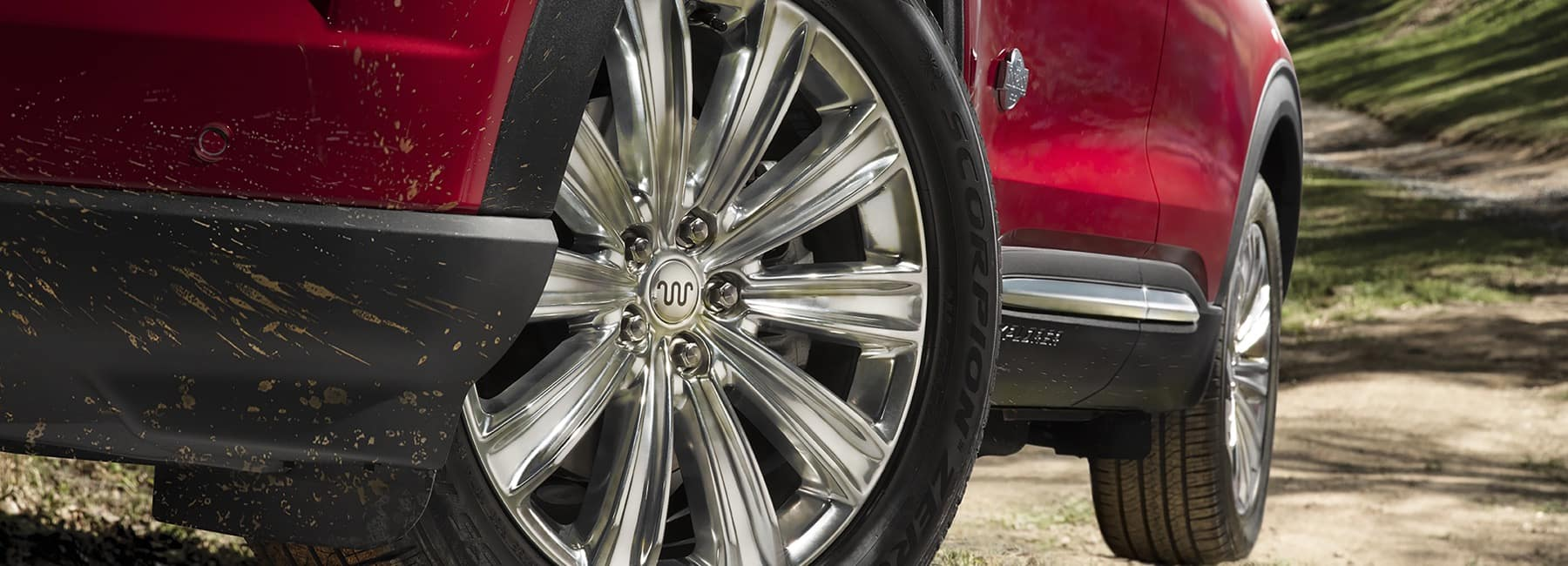 Closeup of a 20 inch Ten Spoke Aluminum Wheel on a 2021 Ford Explorer King Ranch