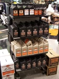 Motorcycle fluids on shelf