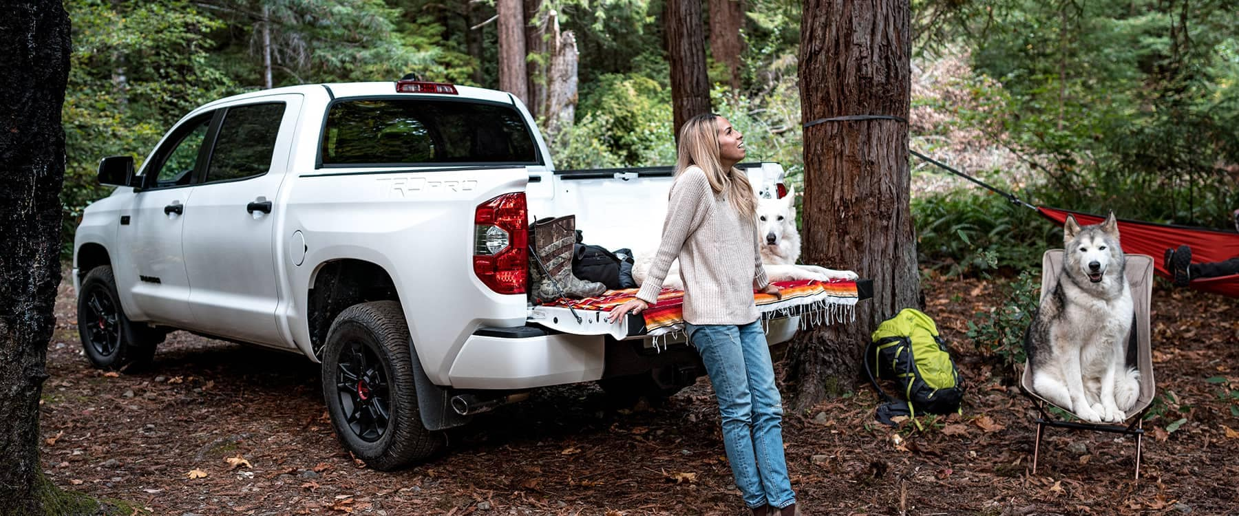 2021 Toyota Tundra parked in woods with woman and two huskies