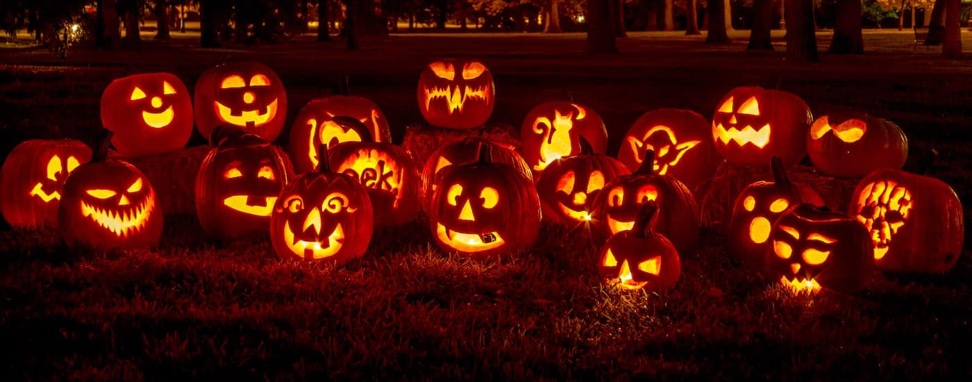 Carved and lit pumpkins on a lawn in Arlington TX