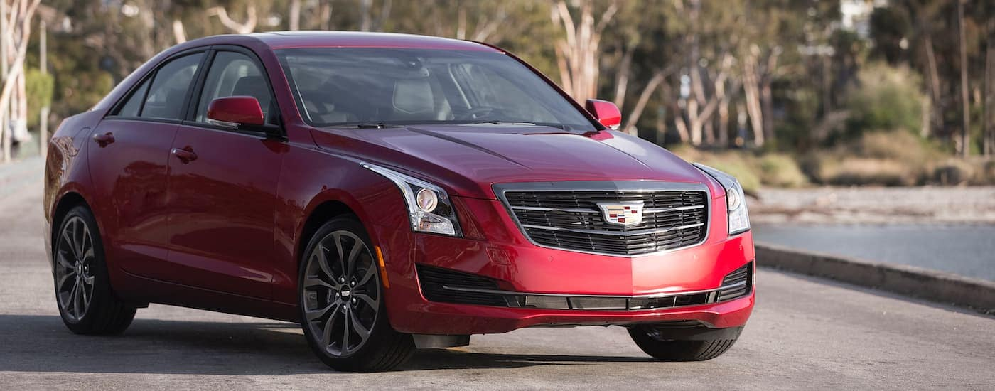 A red 2016 Cadillac ATS, common among used luxury cars for sale, is parked in front of trees.