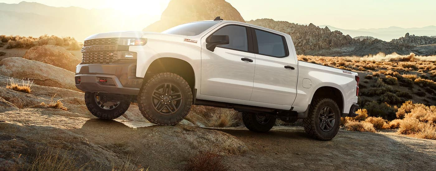 A white 2020 Chevy Silverado Custom Trail Boss, which is popular among Chevy trucks for sale, is parked in the desert near Ennis, TX.