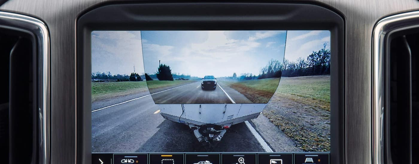 The transparent view on the ProGrade Trailering System is shown, which is available on many GMC trucks for sale in Corsicana, TX.