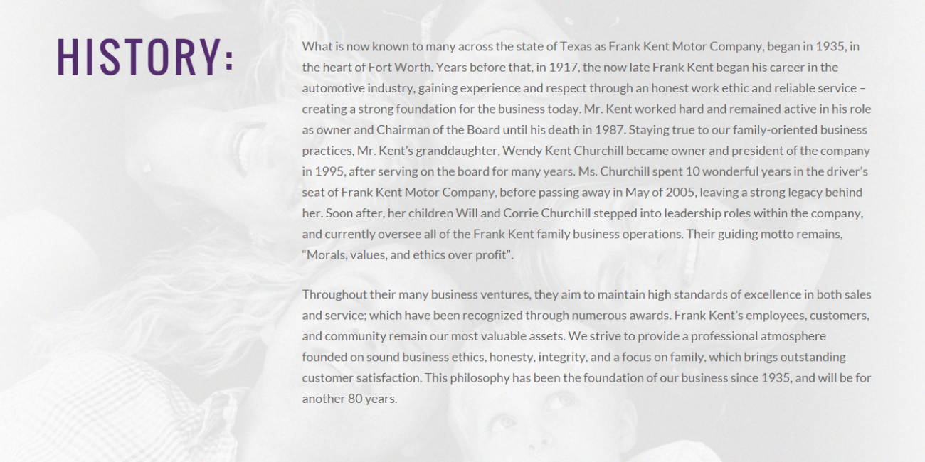 Frank Kent History