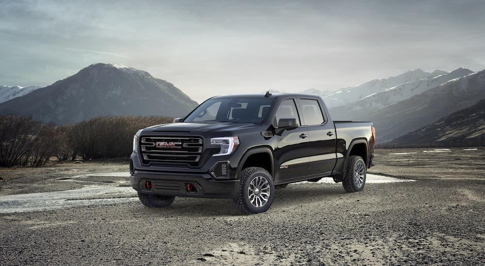 2019 gmc sierra with mountains in the background