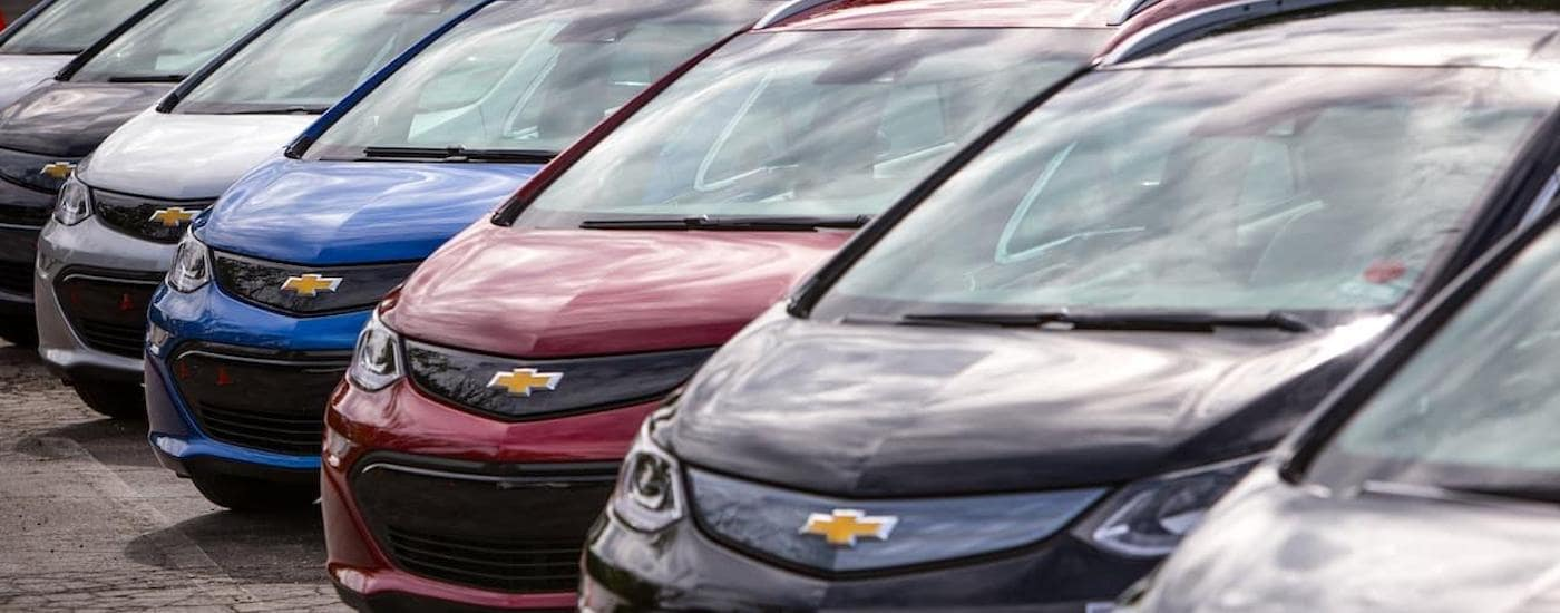 A line of 2017 Chevy BoltEVs are shown featuring the front ends in Corsicana, TX.