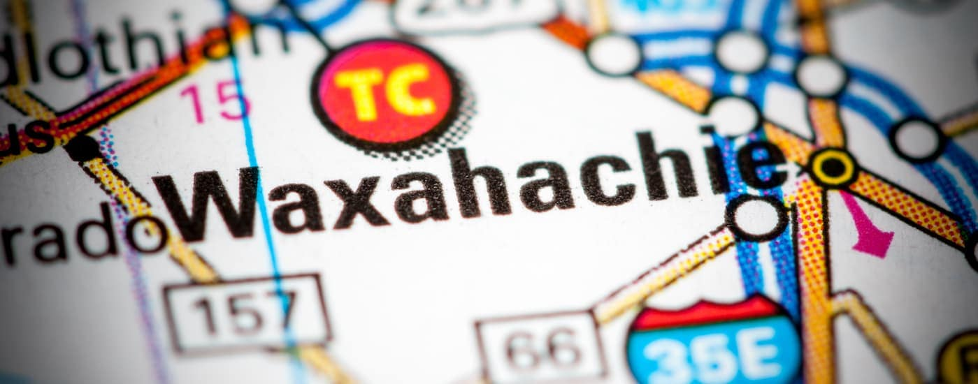 A map of Waxahachie, TX, is shown.
