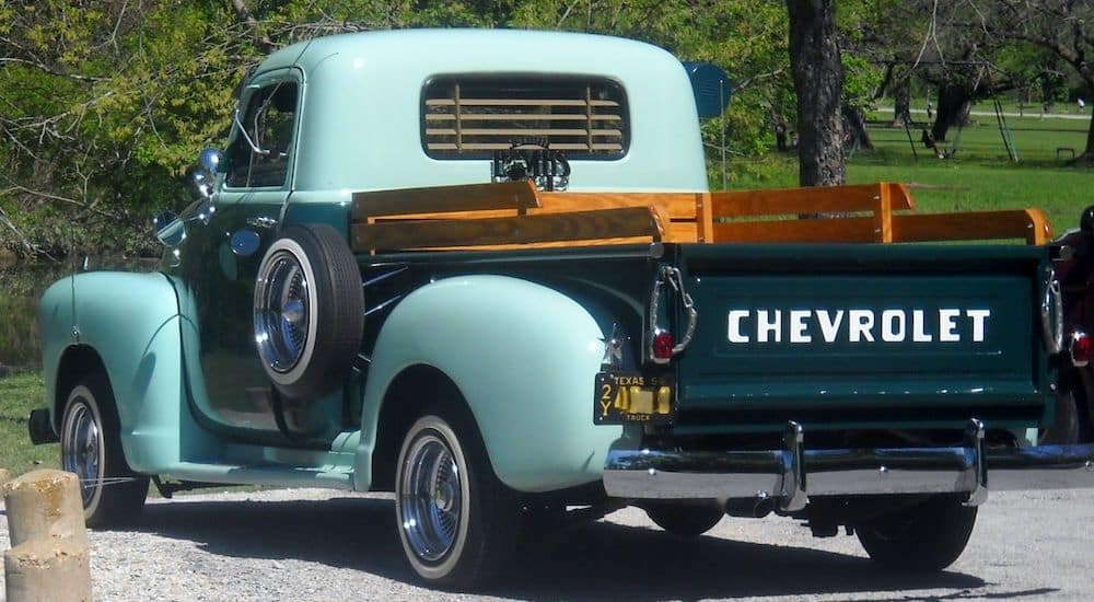 rear quarter view of classic chevy truck