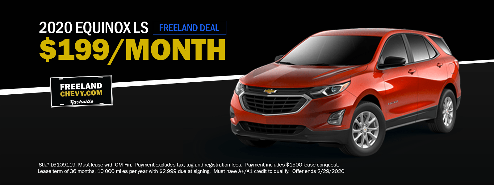 Lease An All New 2020 Chevrolet Equinox For Only 199 Per Month