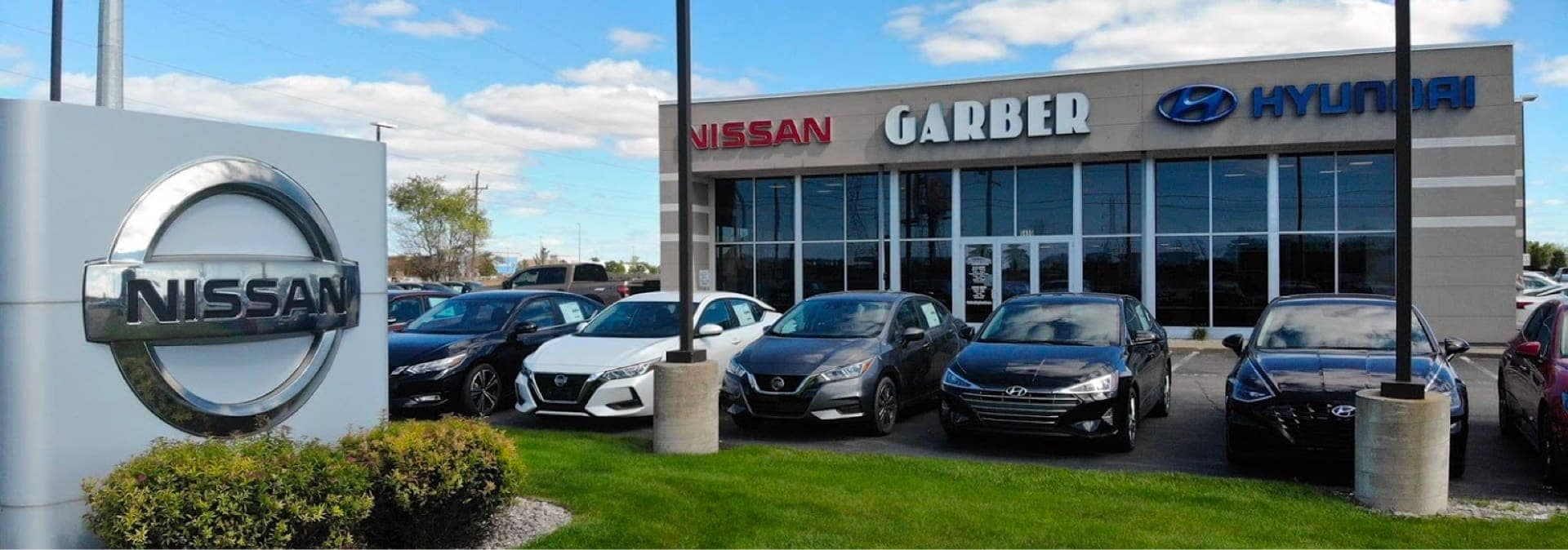 An exterior shot of Garber Nissan dealership