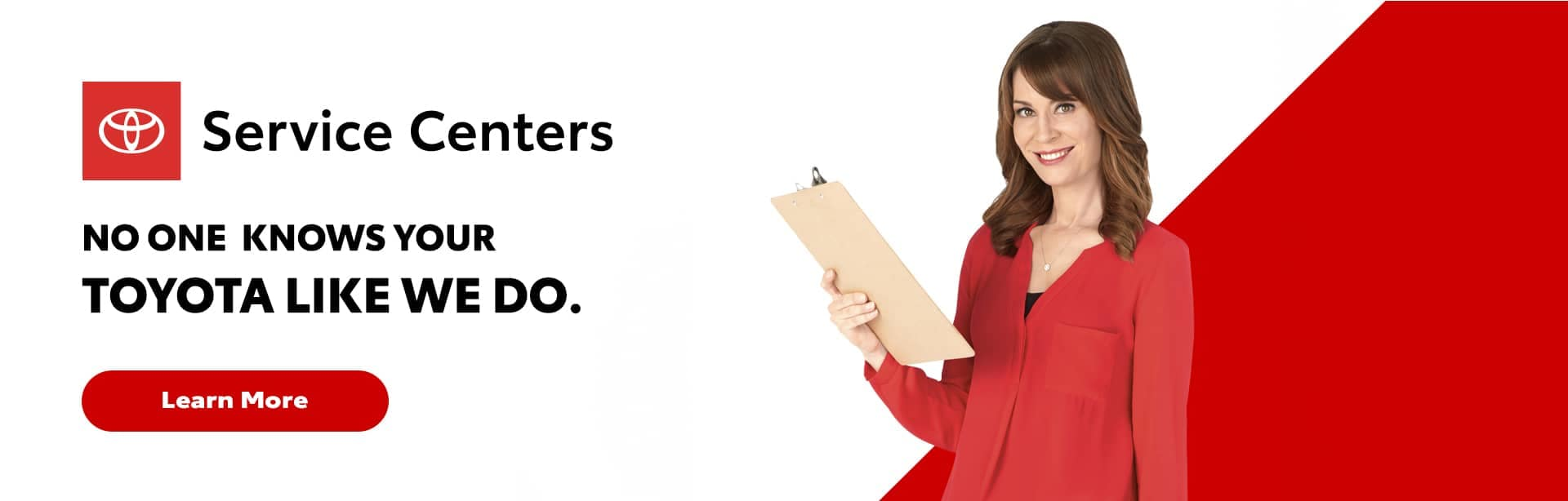 Woman with clipboard on Toyota service banner