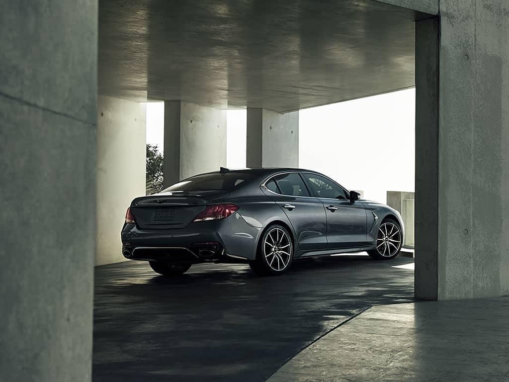 G70 parked in concrete garage