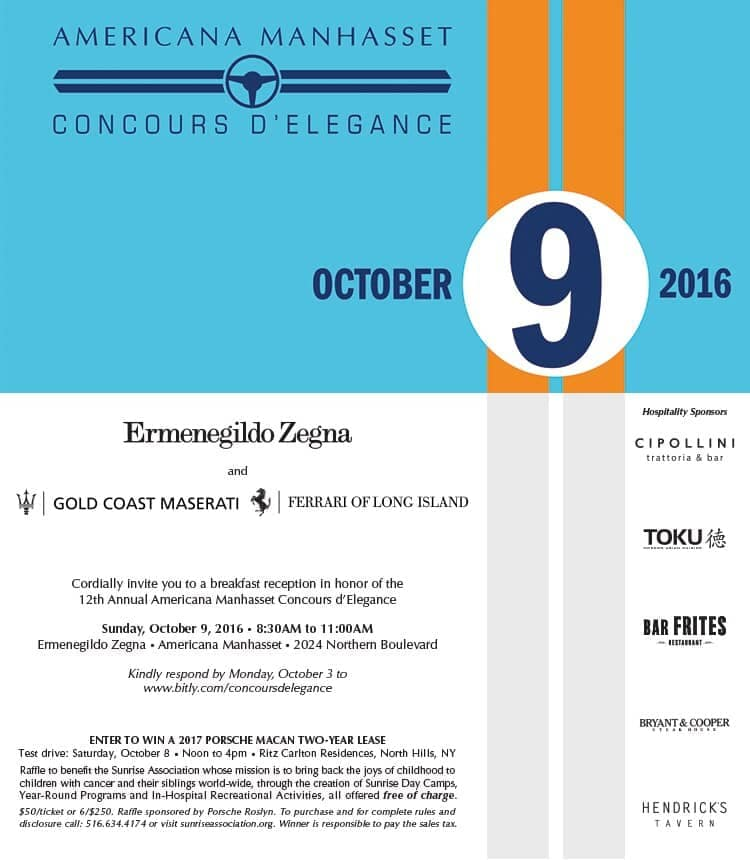 12th Annual Americana Manhasset Concours d'Elegance this October 9th, 2016