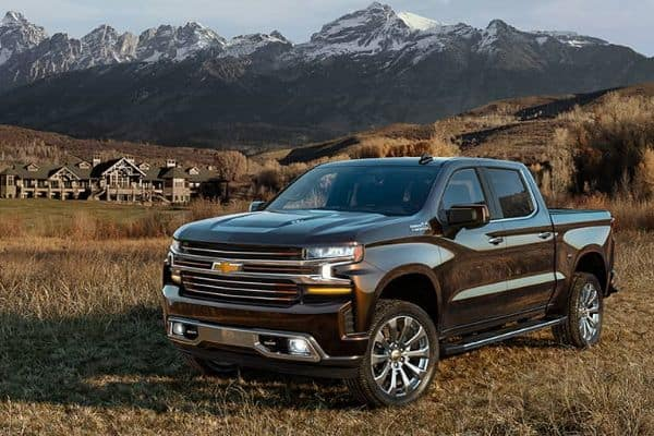 Dark 2021 Chevrolet Silverado 1500LD Crew Cab parked in a Mountain Valley_mobile