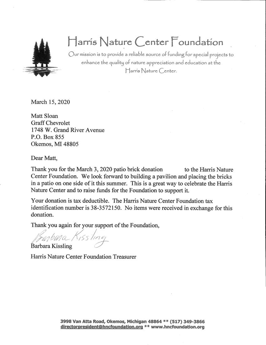 TYLetter - Harris Nnature Center Foundation