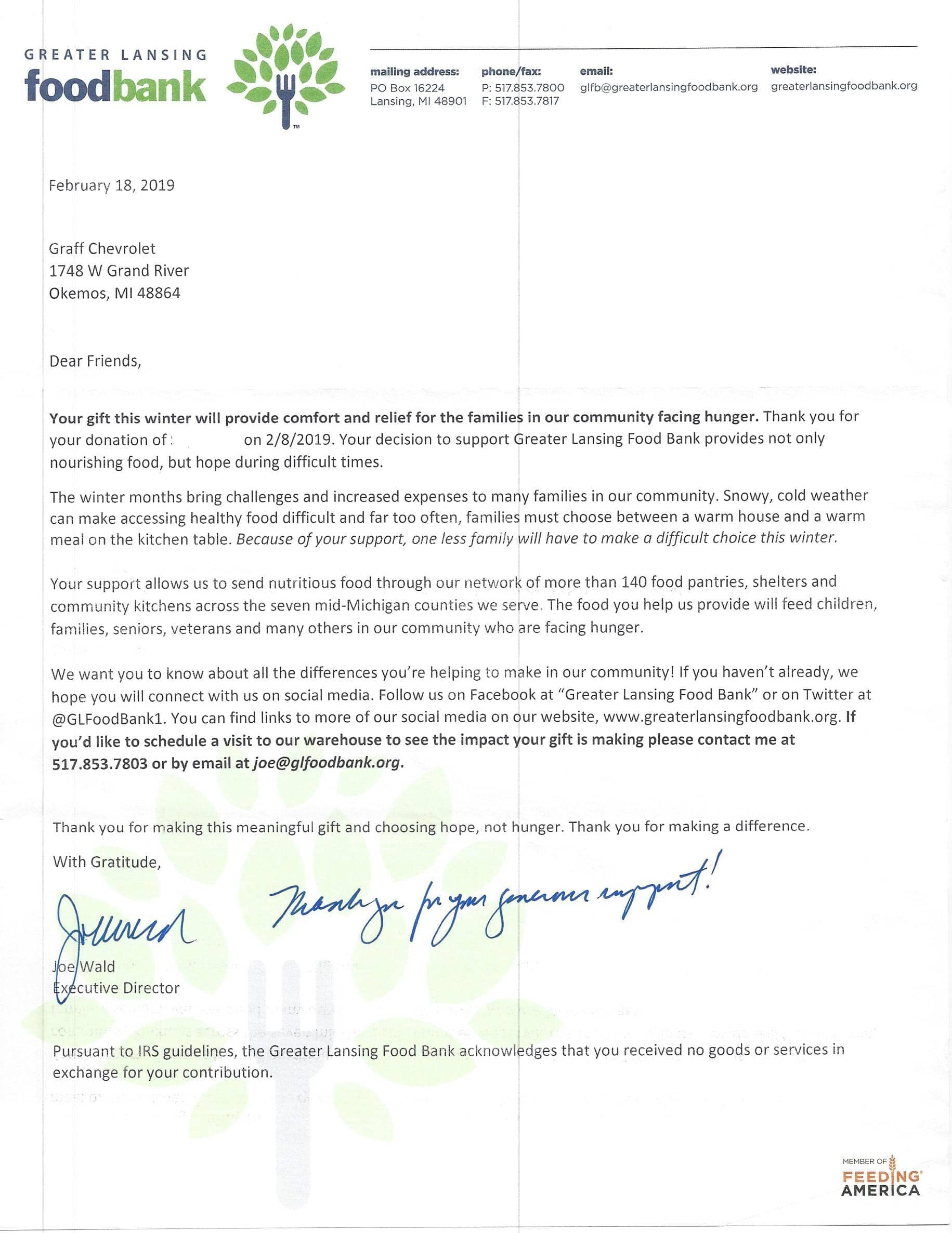 TYletter - Greater Lansing Food Bank Letter of appreciation