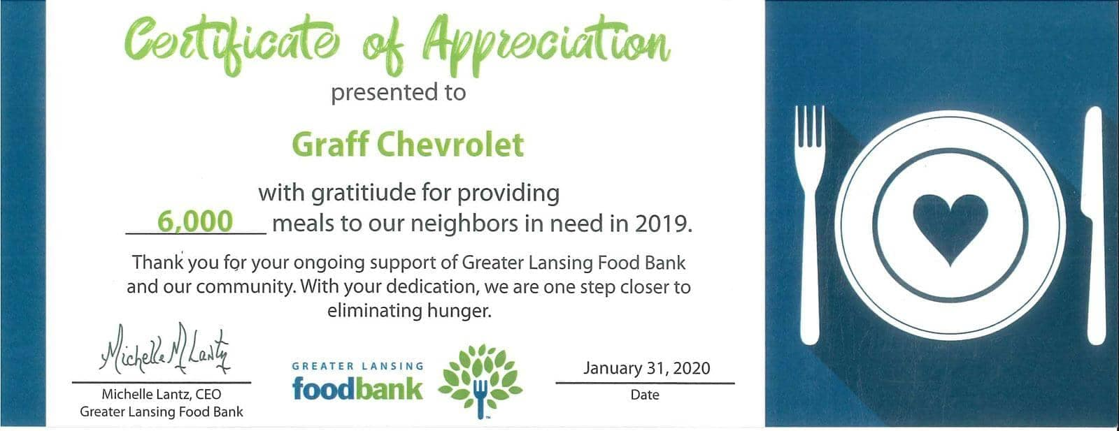TYletter - food Bank - certificate of appreciation
