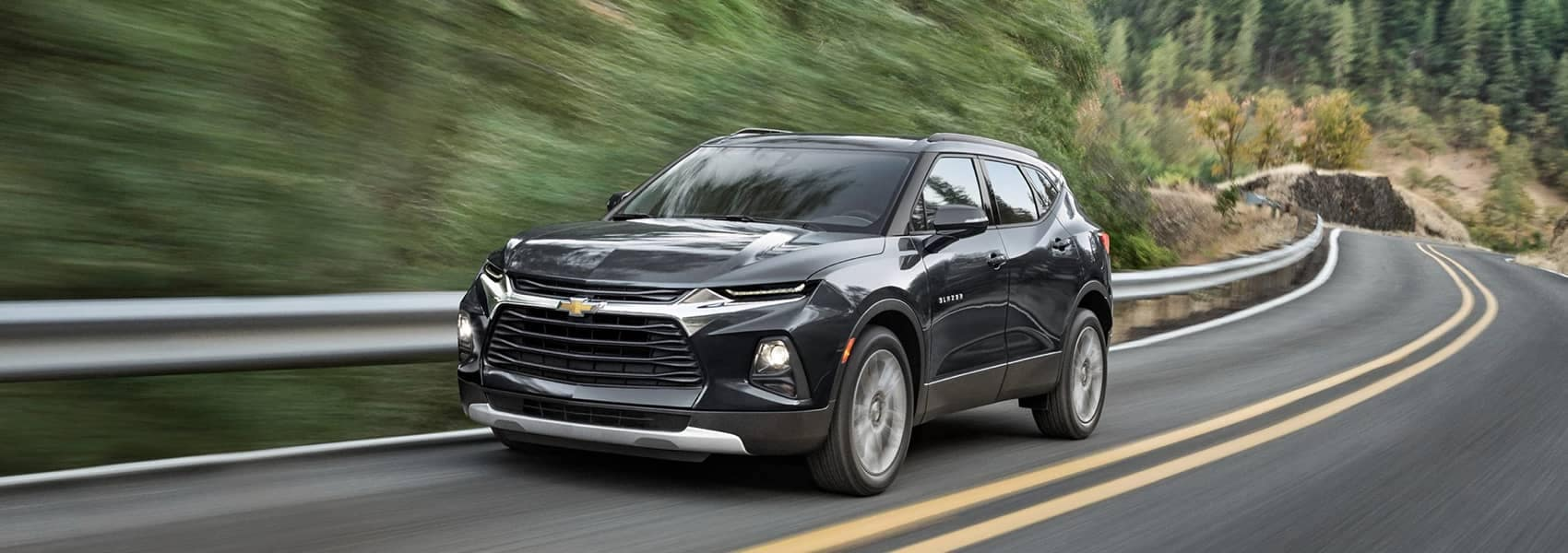 2021 Black Chevrolet Blazer on a winding road