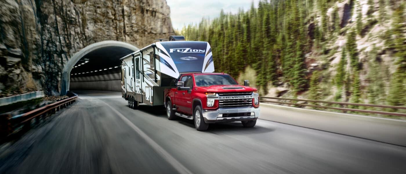 2020 Chevy Silverado 2500HD towing a trailer