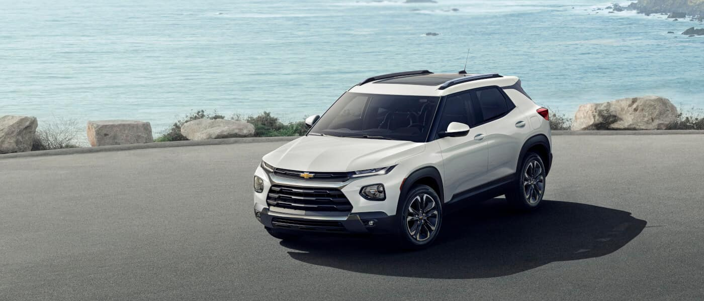 2021 Chevy Tralblazer parked by the ocean