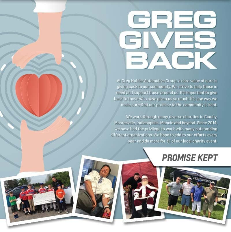Greg gives back banner