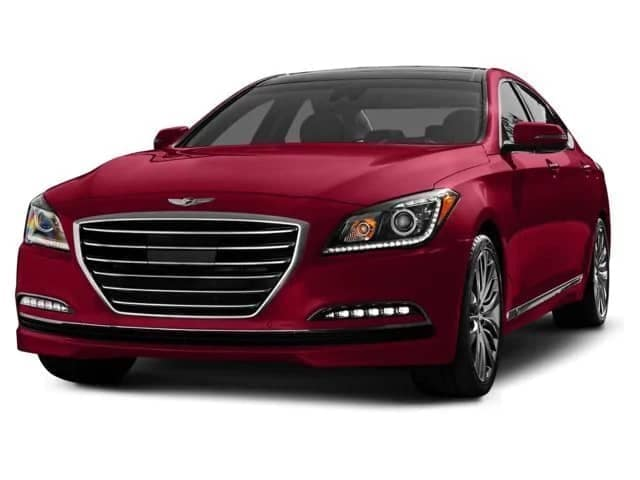 picture of a red 2015 Hyundai Genesis.