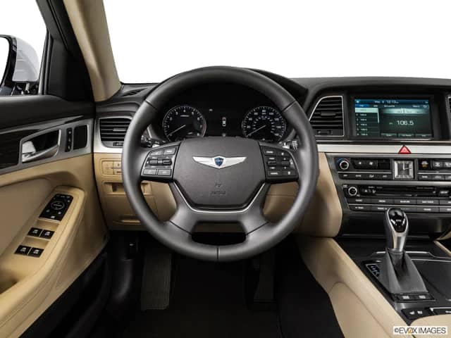 picture of the interior and steering wheel of the 2015 Hyundai Genesis.