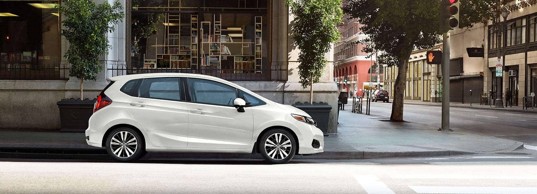 2019 White Honda Fit Parked