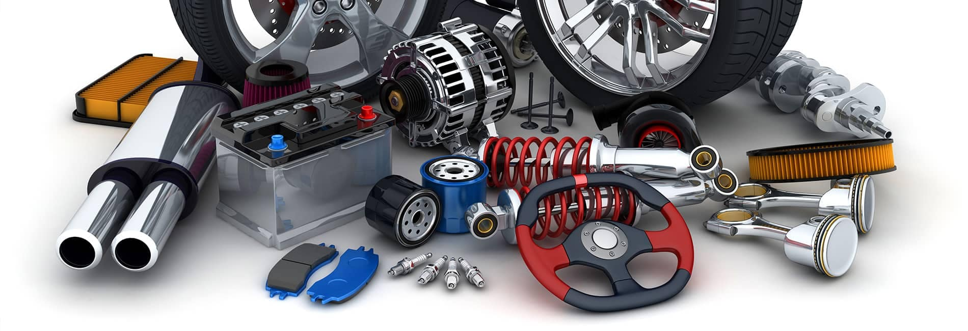 a large amount of car parts in an organized mess against a white background that are generic for legal reasons