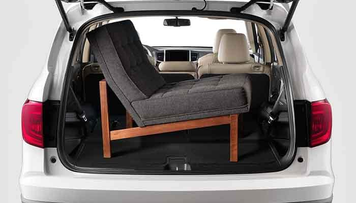 Chair in the cargo area of a 2018 Honda Pilot