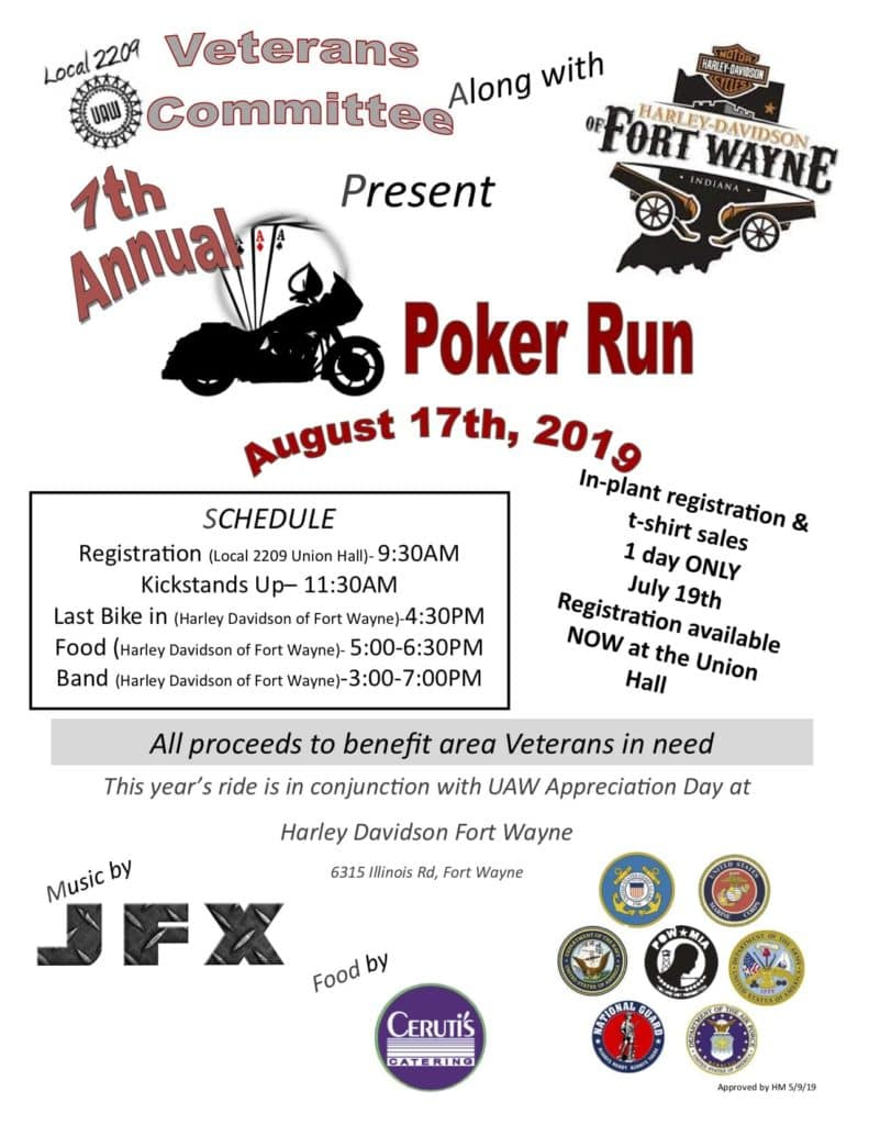 flyer for Veterans Committee and Harley Davidson of Fort Wayne Poker Run