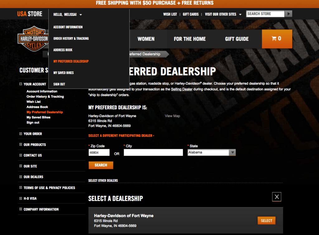 screenshot of Harley Davidson site