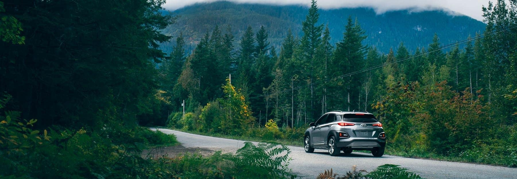 A silver Hyundai SUV driving down a road surrounded by trees