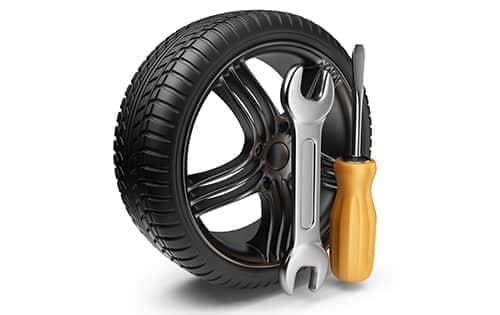 tire with wrench and screwdriver