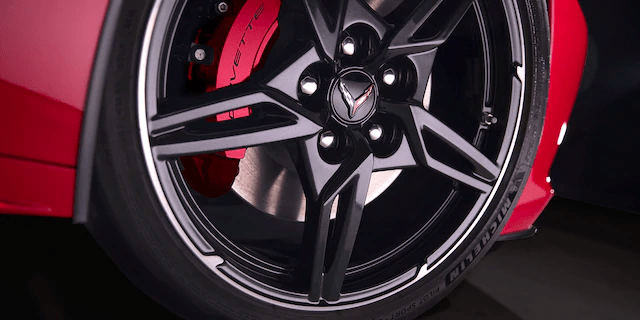 closeup of 2020 Corvette tire