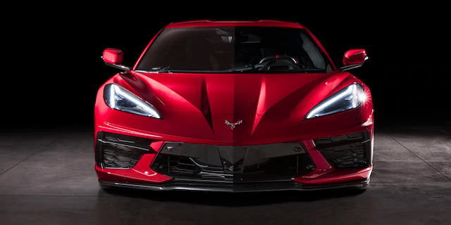 view looking at front of 2020 Corvette