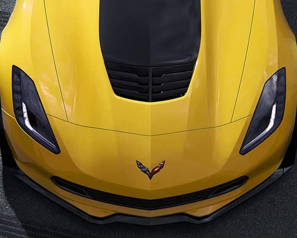 yellow Corvette hood