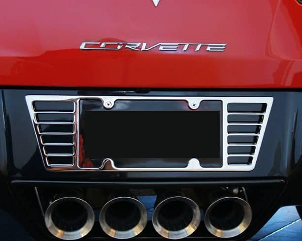 close up of Corvette license plate frame
