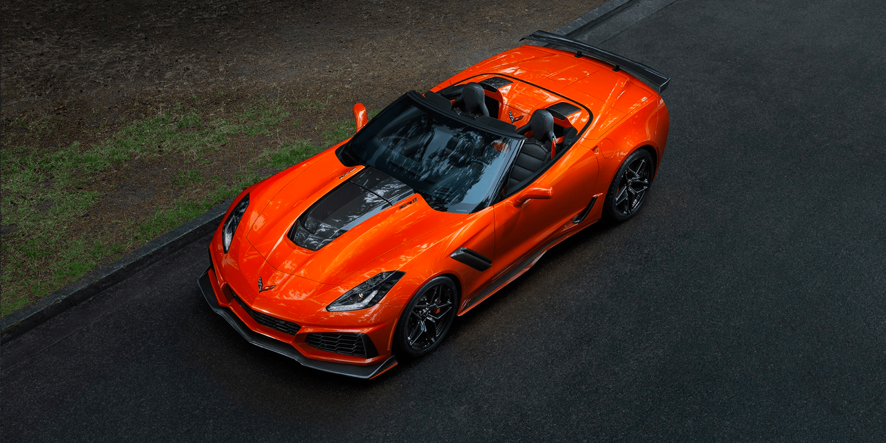 irds eye view looking down on orange Corvette ZR1