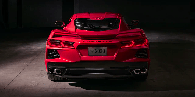 view looking at rear of 2020 Corvette