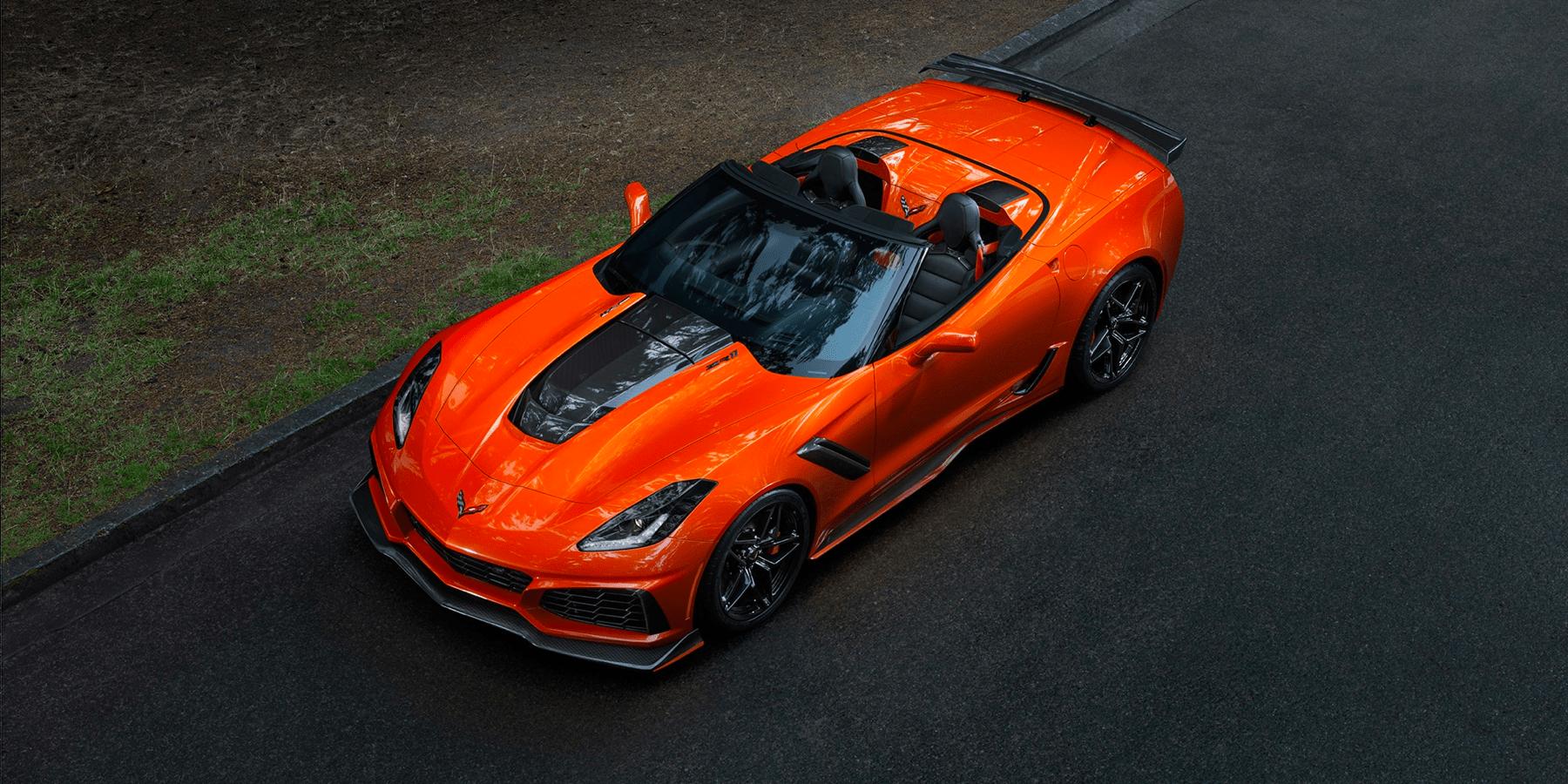 birds eye view looking down on orange Corvette ZR1