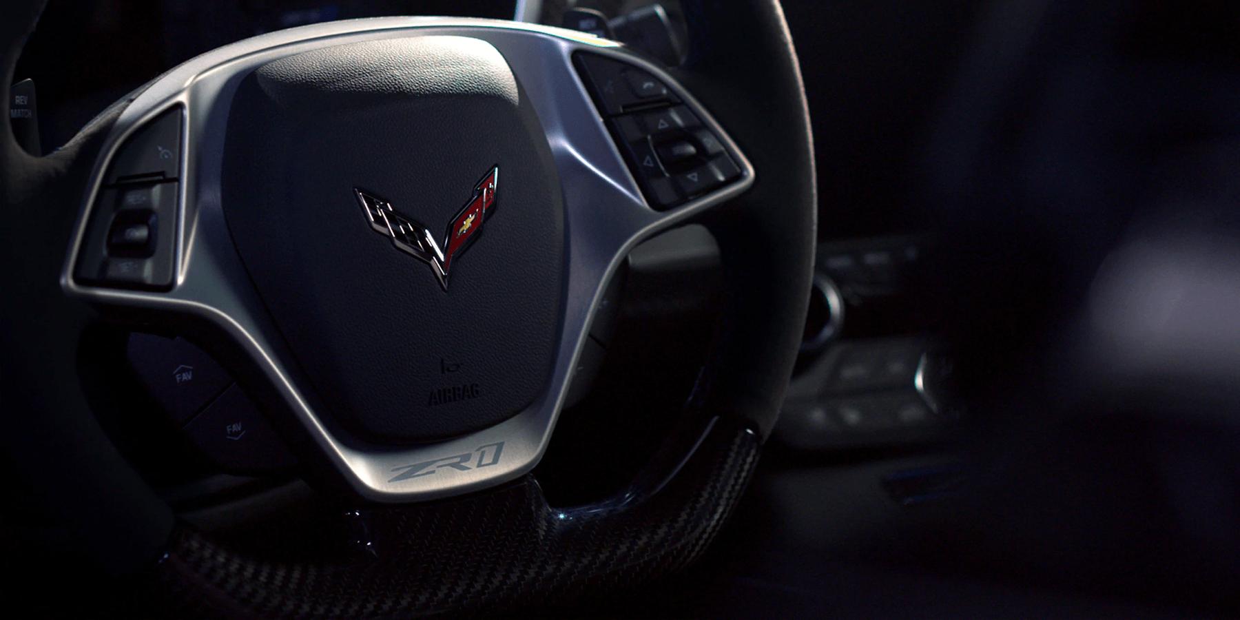closeup of driving wheel of Corvette ZR1