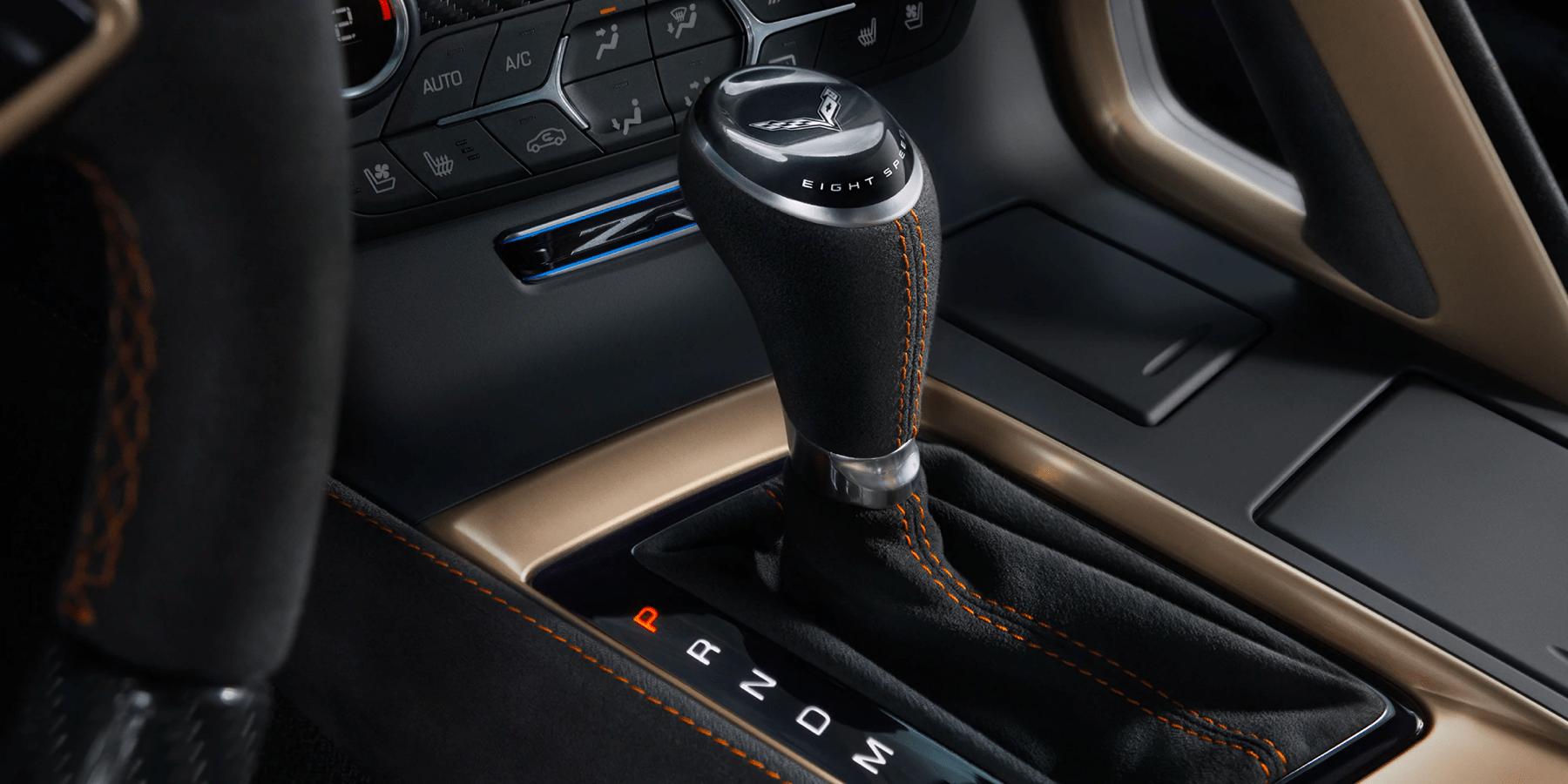 closeup view of stick shift of Corvette ZR1
