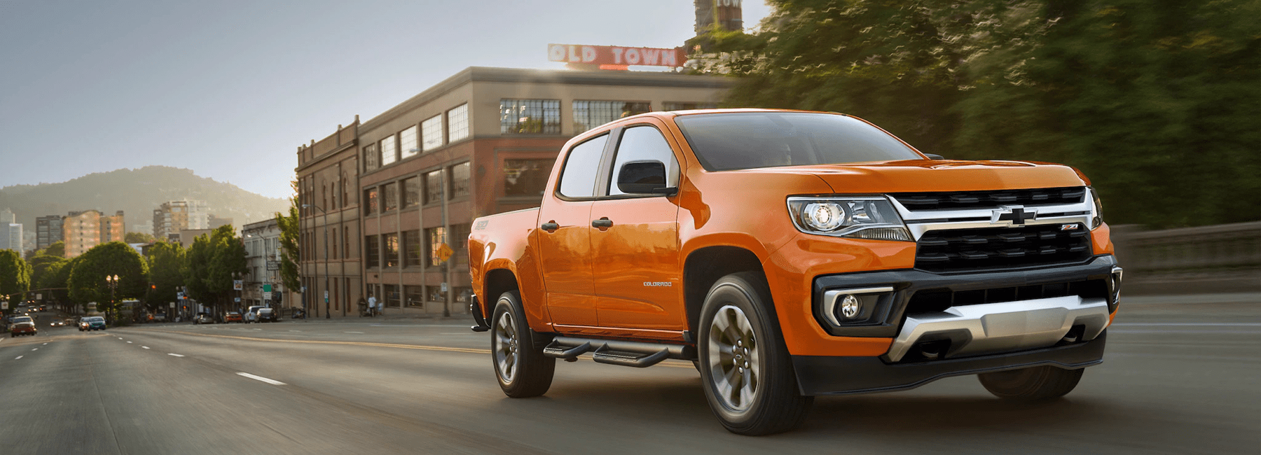 2021 Chevy Colorado drives down town road