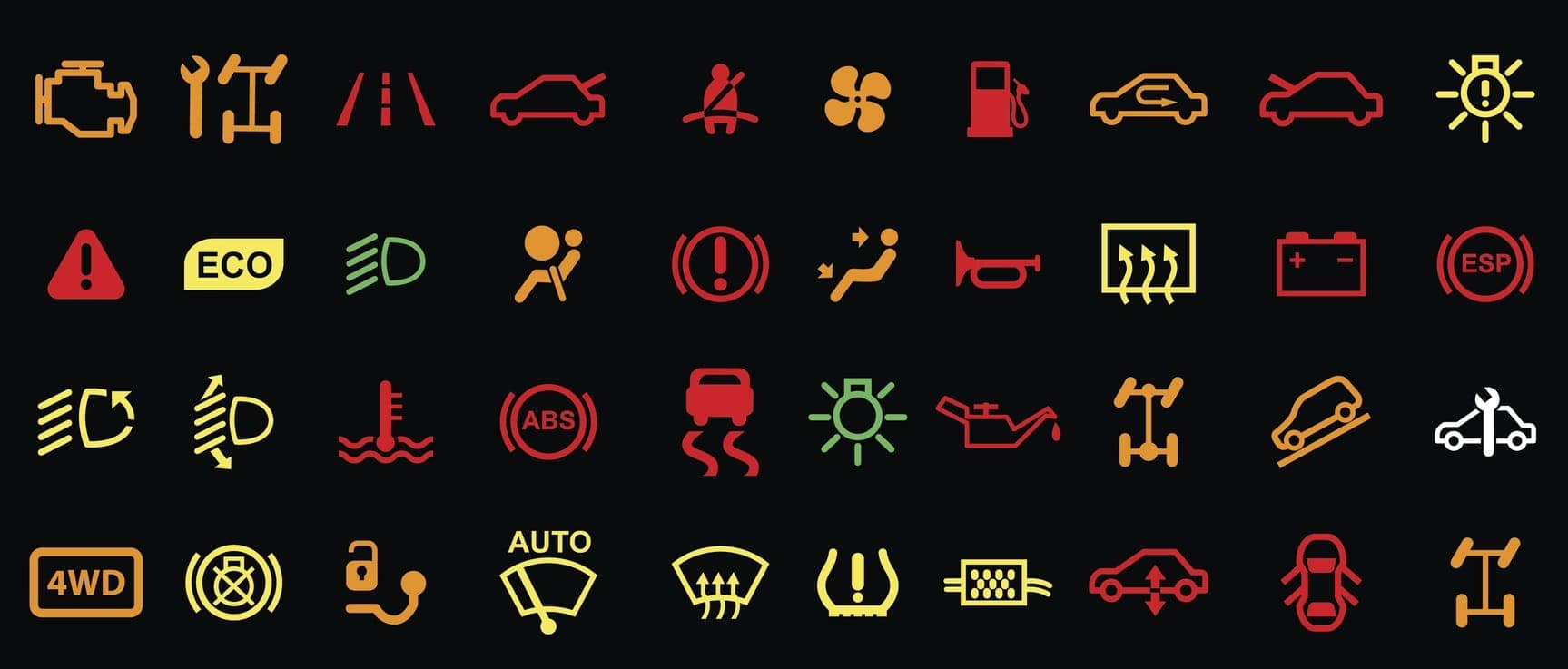A bunch of different symbols that can pop up in your car