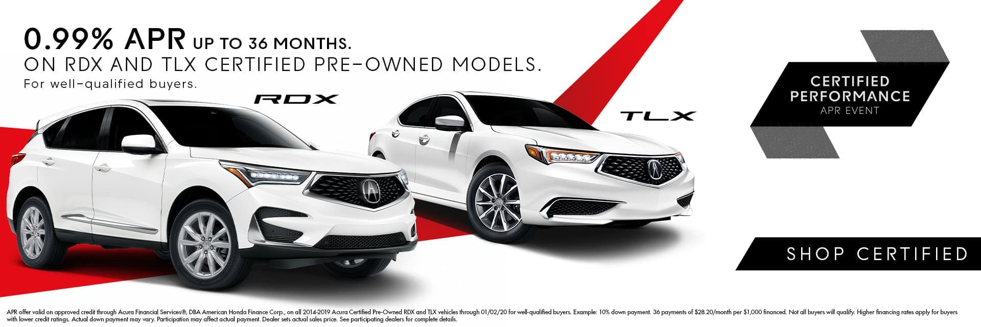 White Acura RDX and White Acura TLX