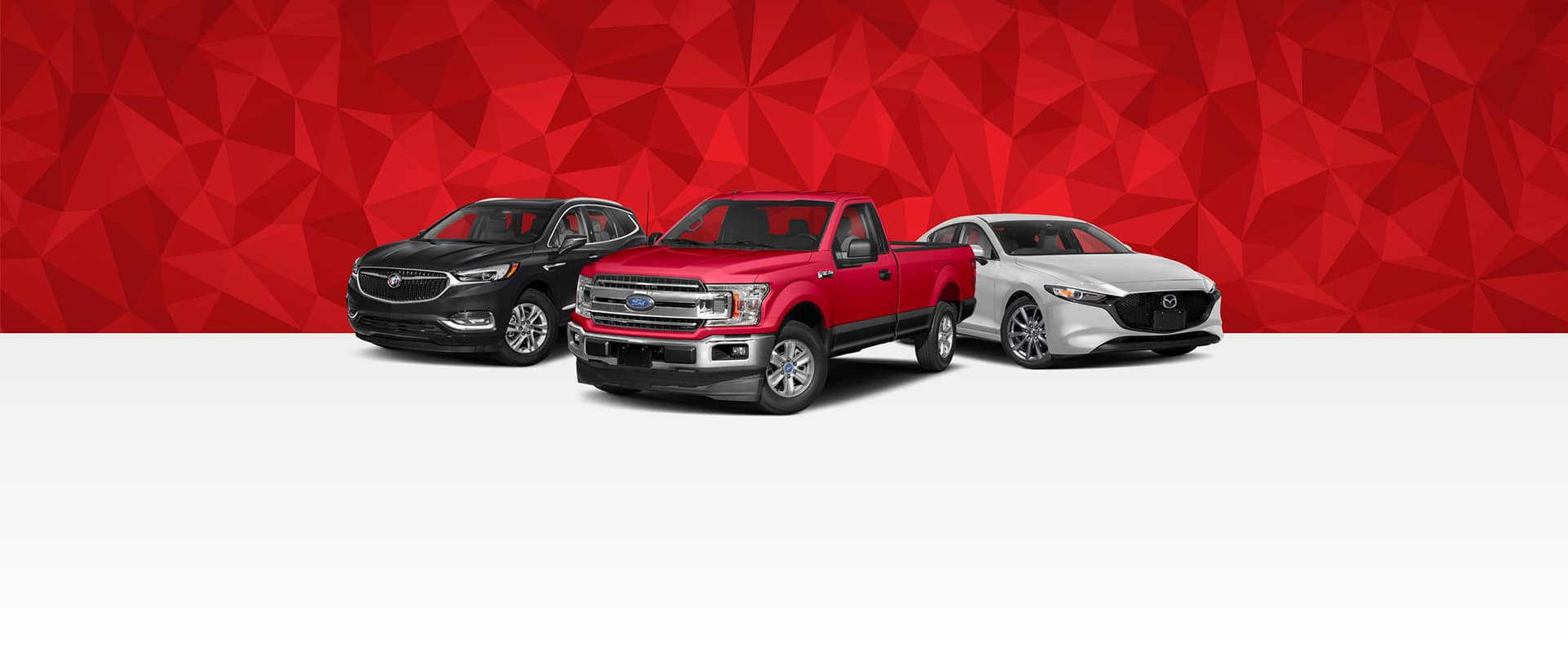 An SUV, a pick-up truck, and a car in front of a red background